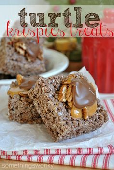 Turtle Rice Krispies Treats_ Ingredients 3 tbsp of butter  1 - 10 oz. package of marshmallows  6-7 cups chocolate Krispies cereal (like Kellogs Cocoa Krispies)  approx. 12 tbsp melted caramels  approx. 12 tbsp melted chocolate  appox. 12 tbsp chopped pecans