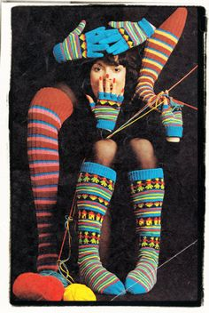 Instant Download PDF : Vintage 1970's Knitting Pattern to make Striped Fair Isle Over Knee and Boot Length Socks Fingerless  Mittens Gloves