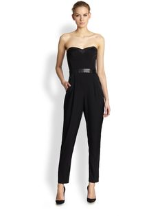 Strapless Bustier Jumpsuit In Black