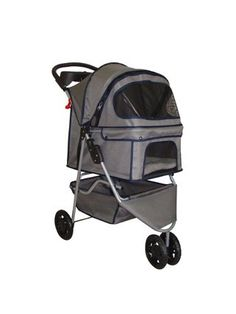 BestPet Pet Stroller Cat Dog 3 Wheel Walk Travel Folding Carrier W/Rain Cover Grey by BP-S8015L-Grey