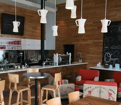 coffee shop (wood, red and black) ... What if you could write with a sharpie on the tan furniture??
