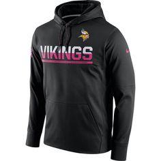 Men's Minnesota Vikings Nike Breast Cancer Awareness Circuit Performance Black Pullover Hoodie