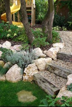 50 The Best Rock Garden Landscaping Ideas To Make A Beautiful Front Yard Sloped garden Landscaping With Rocks, Front Yard Landscaping, Landscaping Ideas, Landscaping Software, Rustic Landscaping, Backyard Ideas, Large Backyard, Railroad Ties Landscaping, Steep Hillside Landscaping