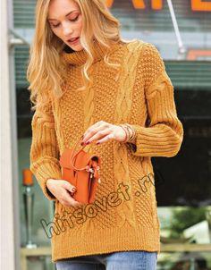 Вязание свитера с косами для женщин, фото.