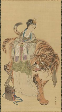 Queen Mother of The West and Tiger - Immortal and a Tiger.  Japanese 19th century. Artist  Shibata Gitô