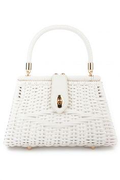 Pinup Couture Rattan Wicker Purse in White b0fd823613a22