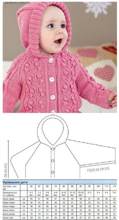 Pink Baby Cardigan With Hook Knitting Knitted - Diy Crafts - maallure Baby Cardigan Knitting Pattern, Crochet Baby Cardigan, Baby Knitting Patterns, Baby Patterns, Knit Crochet, Girls Sweaters, Baby Sweaters, Cardigan Bebe, Baby Coat