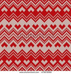 Fair Isle Style Knitted Sweater Design with Hearts. Seamless Knitting Pattern. Vector Texture