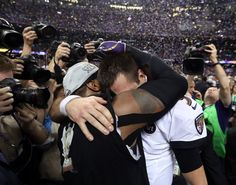 The Ravens' Ray Lewis with Flacco after the Super Bowl, which Lewis said was his last N.F.L. game after 17 years.