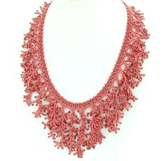 Fringe Necklace Red Coral Necklace Beadwork by liorajewelry, $70.00