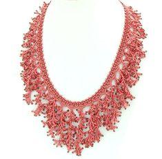 Red Coral Necklace, Fringe necklace, Fringe statement necklace, Coral statement…
