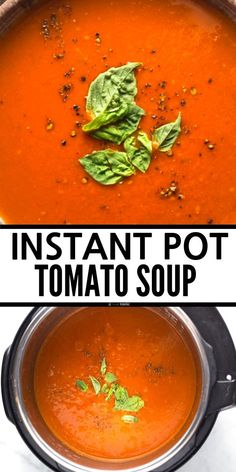 Easy Instant Pot Tomato Basil Soup made with fresh clean eating ingredients. It's very quick to make pressure cooker tomato soup recipe, this recipe is dairy free, gluten free, Whole 30, and Paleo. www.noshtastic.com Pressure Cooker Soup Recipes, Low Carb Soup Recipes, Tomato Soup Recipes, Free Recipes, Gluten Free Chicken Broth, Gluten Free Soup, Dairy Free, Tomato Basil Soup, Instant Pot Dinner Recipes