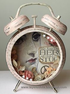 Layers of ink - Shabby Chic Assemblage Clock, Tim Holtz Idea-ology pieces, Stampers Anonymous stamps and Sizzix dies. Shabby Chic Crafts, Shabby Chic Decor, Shabby Chic Boxes, Vintage Crafts, Altered Tins, Altered Art, Arte Assemblage, Shadow Box, Decoupage
