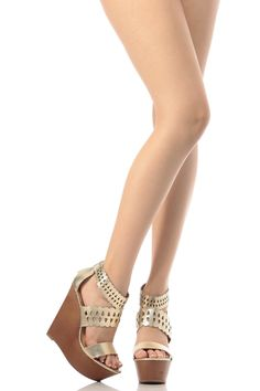63dd478d63a6 Gold Faux Leather Laser Cut Out Wooden Wedges   Cicihot Wedges Shoes Store Wedge  Shoes