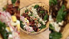 This riff on the classic Cobb salad from Rach is made with spinach a hot bacon dressing. Hot Bacon Dressing, Dressing Recipe, Food Network Recipes, Cooking Recipes, Chef Recipes, How To Make Spinach, Rachel Ray Recipes, Main Dish Salads, Dinner Salads