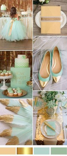 2017 gold and mint wedding color ideas