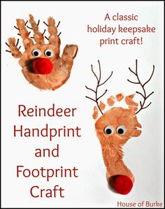 Reindeer Handprint and Footprint Craft - House of Burke