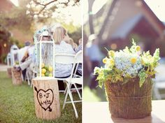 """I had a hard time deciding if I should post this under """"Wedding Style"""" or """"Outdoor Entertain"""" - well here it is, love the stumps and lanterns, cute aisle decor."""