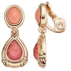 Napier Pink Teardrop Clip On Earrings ($18) ❤ liked on Polyvore featuring jewelry, earrings, orange, multi colored earrings, clip back earrings, pink jewelry, tear drop earrings and pink teardrop earrings