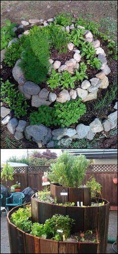 Build a spiral herb garden to maximize outdoor space!
