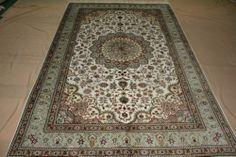 5'x8' Handmade Hand-knotted 450 kpsi Silk Oriental Persian Tabriz Rug B550