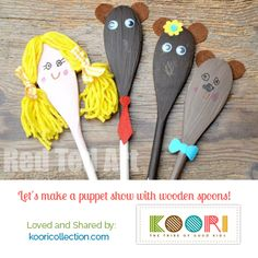 Let´s make a puppet show with wooden spoons! Enjoy the show! #cutecrafts #kidscrafts #toddlers #mombloggers