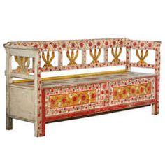 Antique | Highly Painted Red Romanian Bench with Storage | circa 1880