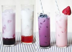 Blueberry and Strawberry Italian Cream Soda Recipes the-greatest-stuff Summer Drinks, Fun Drinks, Fruity Drinks, Party Drinks, Italian Sodas Recipe, Non Alcoholic Drinks, Cocktails, Alcoholic Punch, Italian Cream Soda