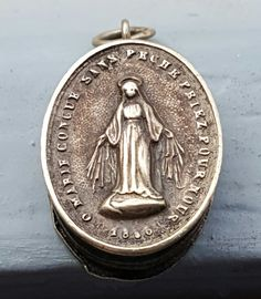 Antique French Blessed Virgin  Notre Dame Reliquary Pendant  Virgin Mary…
