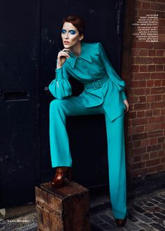 Bowie Girl - The legacy of David Bowie and his Ziggy Stardust persona lives on. Alana Zimmer poses for Emma Tempest in tailored suiting & separates from Gucci.   March 2013   Vogue Russia