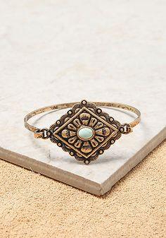 Gold Engraved Pendant & Stone Bracelet