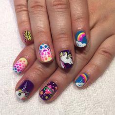 Lisa Frank inspired nails for Caitlin #nailart #lisafrank #unicorns #handpainted #heynicenails #gelnails #longbeach #nicenailsfornicepeople  (at Hey, Nice Nails)
