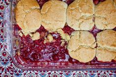 Rhubarb is often paired with strawberries, but in this cobbler it courts a new dance partner, the raspberry If rhubarb is young and fresh, you can trim it in seconds If it has fibrous outer strings, peel these off as you would those of celery