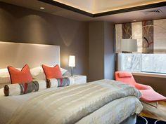 farben im schlafzimmer, grau und pastellrot