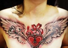 Lock and key tattoo on chest - 50 Inspiring Lock and Key Tattoos  <3 <3