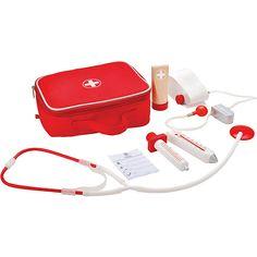 Mit dem Doktorkoffer von Hape gibt es keine Angst mehr vor dem Kinderarzt!<br /> <br /> Der Arztkoffer ist mit wichtigen medizinischen Utensilien ausgestattet. Ihr Kind lernt die tägliche Arbeit eines Arztes spielerisch kennen.<br /> <br /> +++ Details +++<br /> + Material: Holz, Textil, Farbe auf Wasserbasis, Kunststoff<br /> + Inhalt: Textilkoffer,Stethoskop, Fieberthermometer, Spritze, weitere medizinische Untensilien