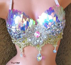 Iridescent Sequins Rave Bra, Festival Wear, Mermaid Bra