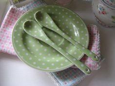 *** 2 ***Zwei Greengate Porzellanlöffel - spot green - Nur als Deko benutzt! | eBay