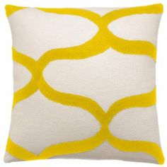 Judy Ross Textiles Hand-Embroidered Chain Stitch Waves Throw Pillow cream/yellow