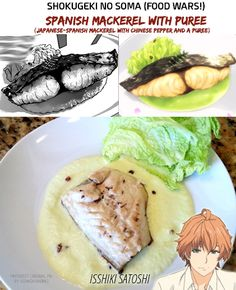 Shokugeki no Soma (Food Wars!) | Mackerel with Chinese Pepper and a Puree | Manga/Anime/Real Life | (c) to their respective owners ||| Real-life recipe from http://shokugekiirl.tumblr.com/