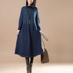 WOMEN HIGH COLLAR BLUE CASUAL LOOSE COTTON DRESS