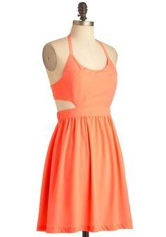 Coral cutout dress
