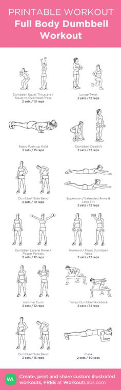 Full Body Dumbbell Workout: my visual workout created at WorkoutLabs.com • Click through to customize and download as a FREE PDF! #customworkout