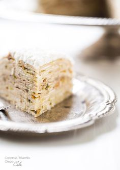 Coconut Pistachio Crepe Cake - A showstopping dessert that is surprisingly EASY! | Foodfaithfitness.com | @FoodFaithFit
