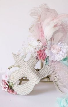 Masked Affairs-Feather mask- L. Masquerade Party, Masquerade Masks, Mascarade Mask, Venice Mask, Feather Mask, Shabby Chic Crafts, Carnival Masks, Venetian Masks, Beautiful Mask