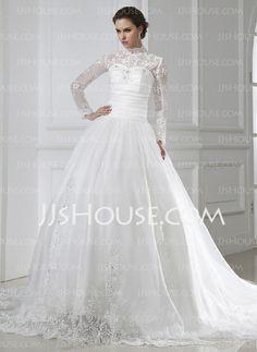 Wedding Dresses - $212.99 - A-Line/Princess Scoop Neck Chapel Train Satin Tulle Wedding Dresses With Ruffle Lace Beadwork (002015462) http://jjshouse.com/A-Line-Princess-Scoop-Neck-Chapel-Train-Satin-Tulle-Wedding-Dresses-With-Ruffle-Lace-Beadwork-002015462-g15462