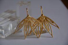 large Wild flowers, gold earrings, bridal earrings, evening jewelry, gift for women, drop earrings, jewelry, handmade jewelry, efrat makov by EfratMakovJewelry on Etsy