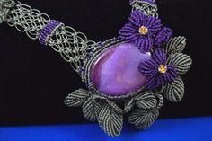 Violet Howlite MicroMacrame Necklace by BeadArtistrybyDiana