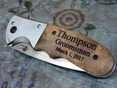 5 Groomsman Gift Knife Burlwood Handle Belt Clip by KnifeEngraving