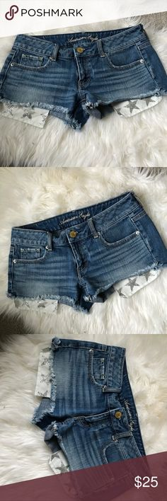 American Eagle shorts super cute shorts- only worn once. Star design on pockets American Eagle Outfitters Shorts Jean Shorts